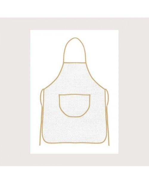 White aida apron with beige border