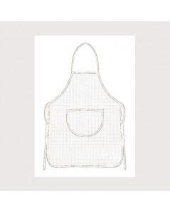 White aida apron with white border