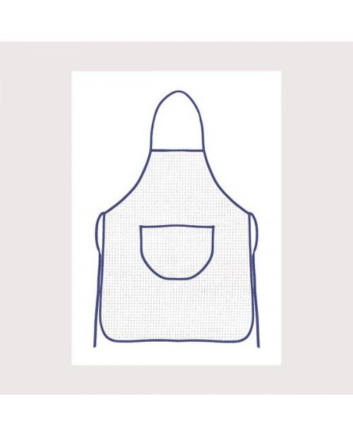 White aida apron with blue border