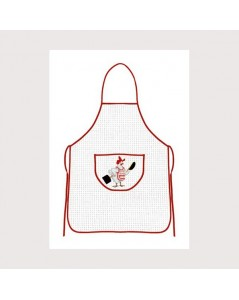 White aida apron with red border