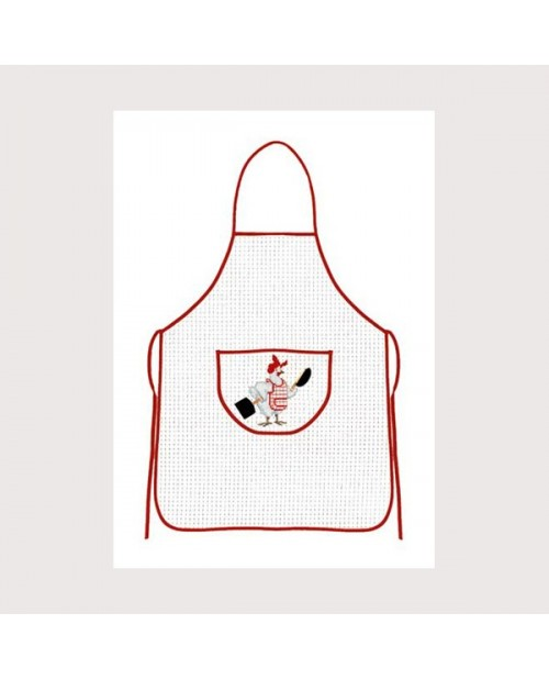 White aida apron with red border
