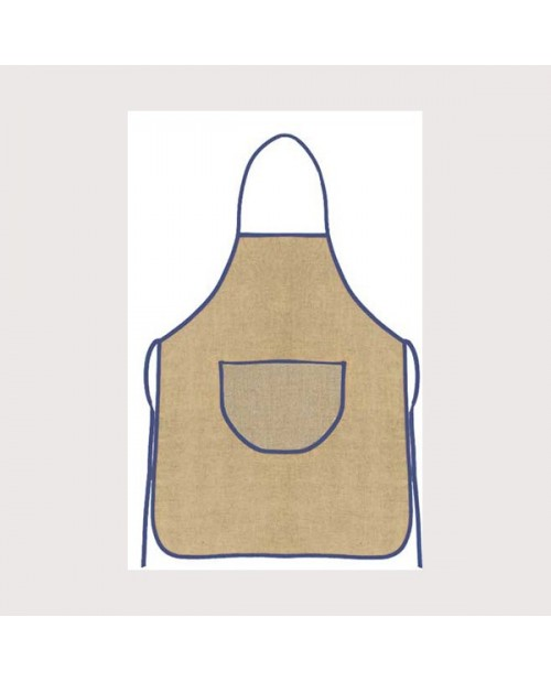 Aida-linen apron with blue border