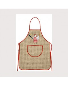 Aida-linen apron with red border