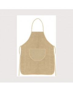 Natural linen apron with beige border