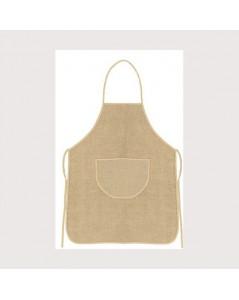 Tablier en lin naturel avec bord beige. Le Bonheur des Dames tabl1