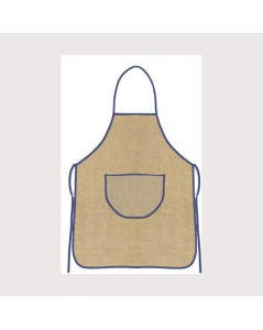 Natural linen apron with blue border