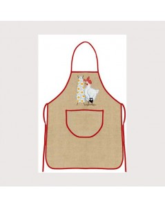 Natural linen apron with red border