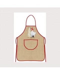 Natural linen apron with red border. Le Bonheur des Dames tabl4