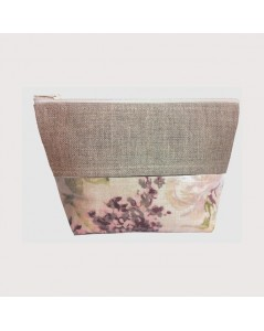 Coated cotton and linen pochette flowers