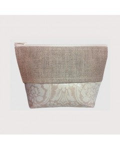 Coated cotton and linen pochette ivory arabesque