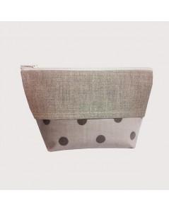 Coated cotton and linen pochette grey polka-dot