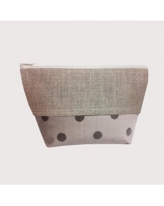 Coated cotton and linen pochette grey polka-dot