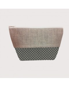 Coated cotton and linen pochette polka-dot anthracite