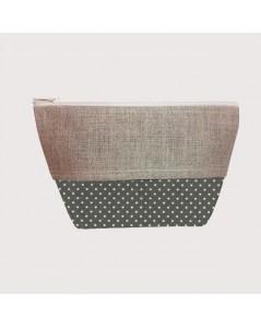 Coated cotton and linen pochette polka-dot anthracite