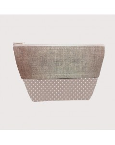 Coated cotton and linen pochette polka-dot beige