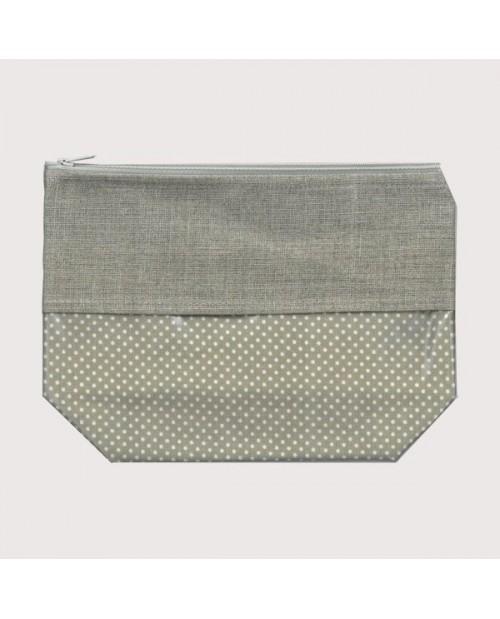 Coated cotton and linen pochette polka-dot beige big