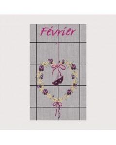 February tea-towel to cross stitch. Le Bonheur des Dames TL02