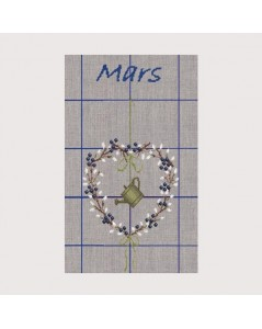 March Cloth. Tea-towel to embroider by cross stitch. Motive: flowers and watering can. Le Bonheur des Dames. TL03