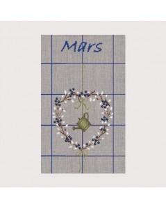 Torchon Mars à broder au point de croix, point compté. Kit broderie sans fils. Motif: fleurs et arrosoir. Bonheur des Dames TL03