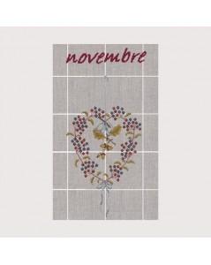 November tea-towel TL11. Automanl heart. Acorns. Le Bonheur des Dames