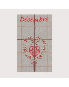 Tea-towel December TL12. Cross stitch. Heart of Christmas berries and chalet. Le Bonheur des Dames