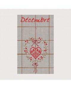 Tea-towel December TL12. Cross stitch. Heart of Christmas berries and chalet. Le Bonheur des Dames