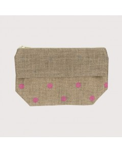 Linen pocket with pink polka-dot prints