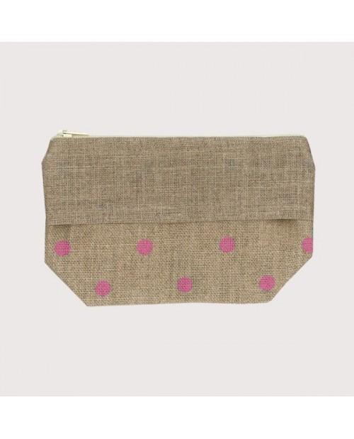 Linen pocket with pink polka-dot prints