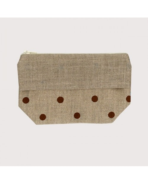 Linen pocket with brown polka-dot prints