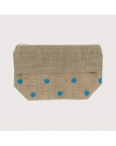 Linen pocket with blue polka-dot prints