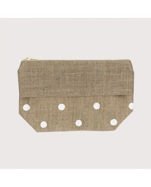 Linen pocket with white polka-dot prints