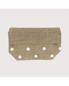 Linen pocket with white polka-dot prints