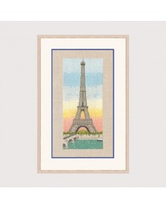 The Eiffel  Tower and the sunset embroidey