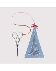 Scissor pendant to embroider Eiffel Tower