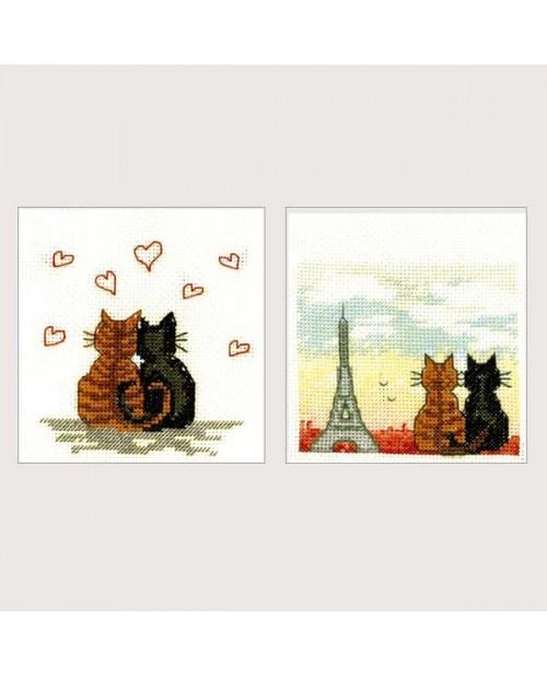 2 greeting cards Parisian cats