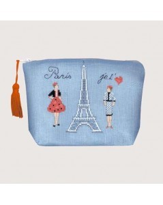 Blue evenweave linen pochette with Eiffel Tower. Paris Je T'aime. 9024