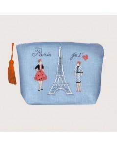 Trousse bleue Tour Eiffel Paris je t'aime. Kit broderie point de croix. Le Bonheur des Dames 9024
