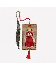 Marque-page à broder au point de croix avec un ange de Noël habillé en rouge. 4610