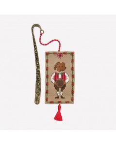 Marque-page, breloque à broder au point de croix. Motif: chien en costume tyrolien, NoëL. Le Bonheur des Dames 4611