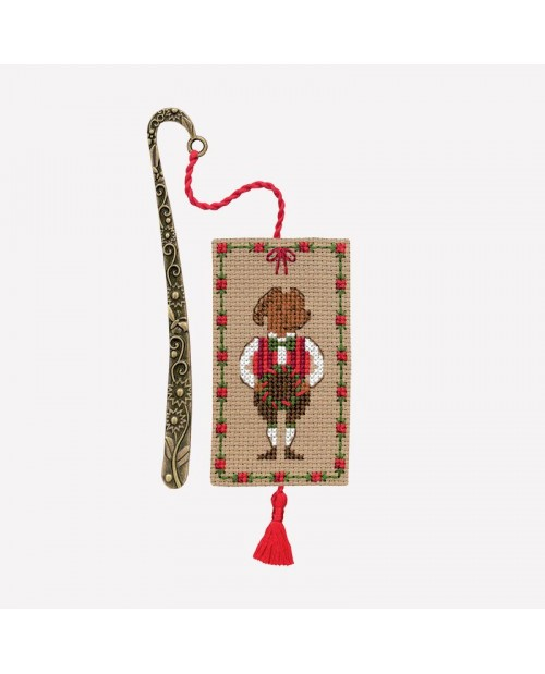 Bookmark with an embellishment to stitch by cross stitch. Motive: dog in Tyrolese costume, Christmas. Le Bonheur des Dames 4611.