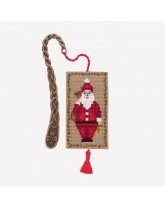 Bookmark Santa Claus to stitch by cross stitch, with metallic decorative element. Le Bonheur des Dames 4612