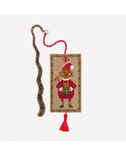 Bookmark to cross stitch with a cat dressed for Christmas