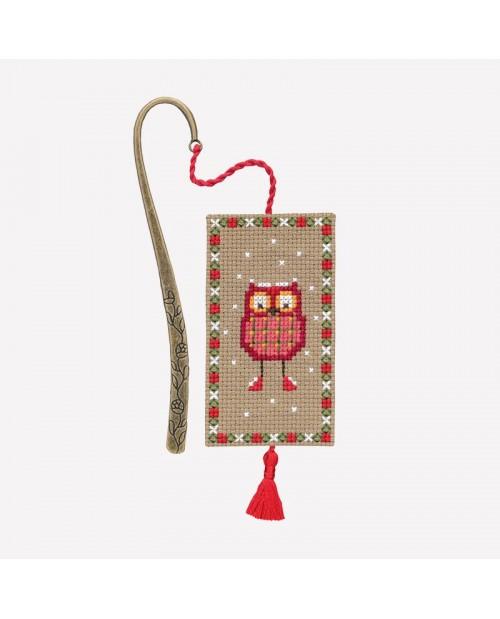 Marque-page à broder ua point de croix Chouette Noël rouge