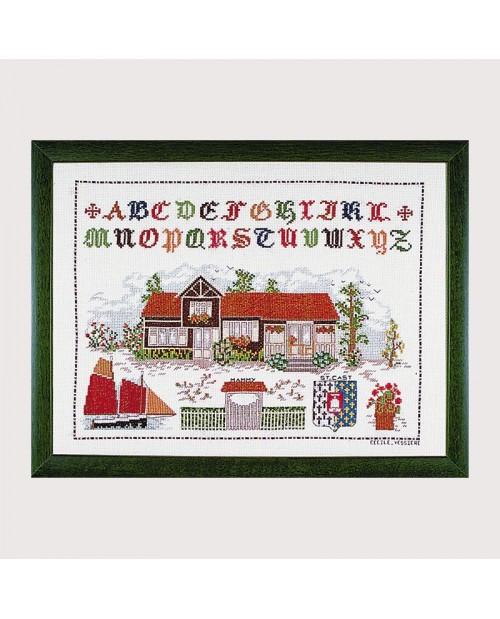 Counted cross stitch embroidery kit, house of saint cast, garden, alphabet. Le Bonheur des Dames 1116