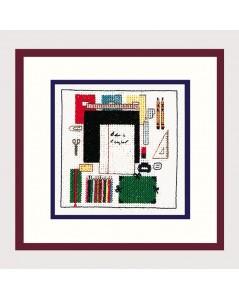 Kit broderie - accessoires d'école. Règle, stylo, crayon, carnets.