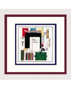 Embroidery kit - school accessories. Ruler, pen, pencils, notebooks.