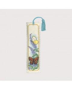 Marque-page Papillons et Buddleia, lilas, kit broderie point de croix