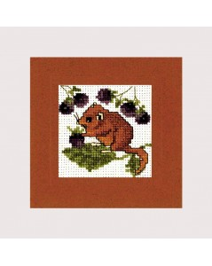 Dormouse. Greeting card to cross stitch. Embroidery kit by Textile Heritage Collection