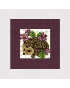 Greeting card to cross stitch. Hedgehog. Textile Heritage Collection