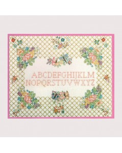 Sampler Flowers and grating. Embroidery kit. Le Bonheur des Dames. 1041